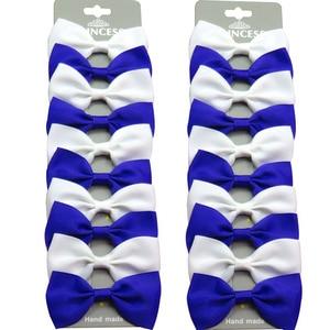 20PCS/Lot Cute Navy White With Clip Grosgrain Ribbon Bow Hairpins 2020 Scrunchie Korean CLIP Hair Accessories For Baby Girl