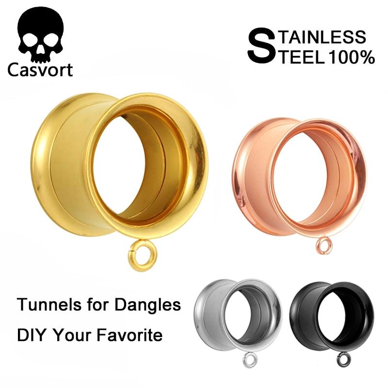 Casvort 2PCS Stainless Steel Dangle Ear Plugs Body Piercing Screw Tunnels Stretchers Body Jewelry Earrings Expander For Gift