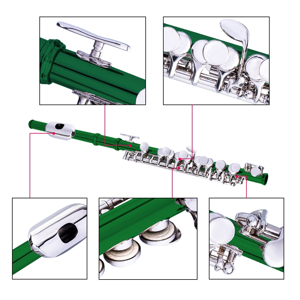 NAOMI Excellent Nickel Plated C Key Piccolo Green Color W/ Case Cleaning Rod And Cloth And Gloves Cupronickel Piccolo Set enlarge