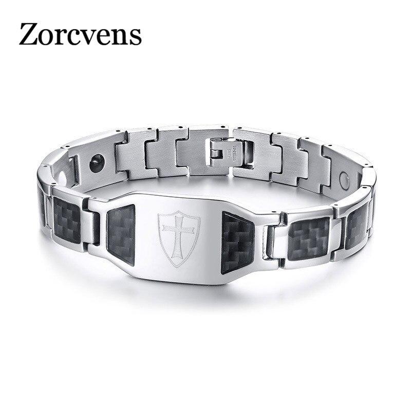 Modyle fibra de carbono magnético pulseira para homens cavaleiros templar escudo cruz aço inoxidável bio terapia energia masculino pulseira