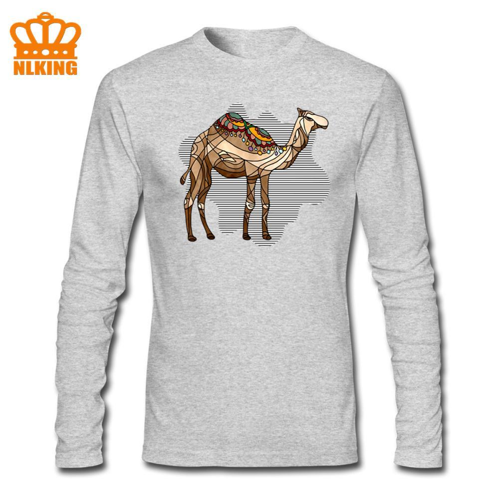 Camiseta de talla grande para hombre, ropa colorida con estampado de camello, camisetas de manga larga, camiseta de alta calidad, ropa informal de algodón para hombre
