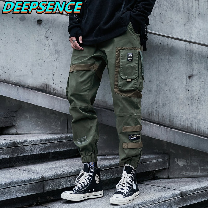 Mens Fashion Casual Cargo Pants Hip Hop Moto Style Pockets Drawstring Loose Fit Streetwear Elastic F