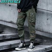 Mens Fashion Casual Cargo Pants Hip Hop Moto Style Pockets Drawstring Loose Fit Streetwear Elastic F