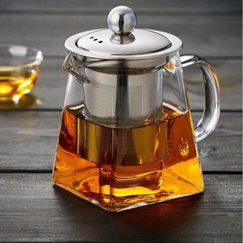 أبريق شاي زجاجي مع مصفاة الشاي الفولاذ المقاوم للصدأ مرشح شاي بالأعشاب المزهرة غلاية طقم شاي الكونغ فو Puer Oolong إبريق الشاي L1