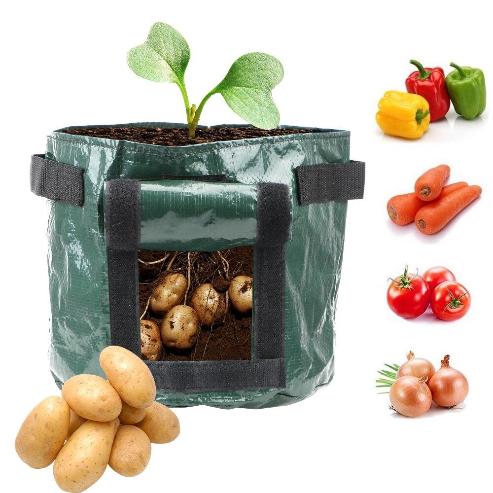 Saco de vegetais para plantio, saco de recipiente para plantio de plantas, material para jardim, pano pe, plantador de batata faça você mesmo, 1 peça