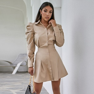 WInter Fashion Casual Vintage Khaki Solid Color  Office Lady  Puff Sleeve Dress for Women 031
