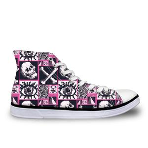 HaoYun Women Vulcanize Shoes High-top Canvas Sneakers Gothic Skull Pattern Girls Lace-up Casual Walking Shoes Sapato Feminino