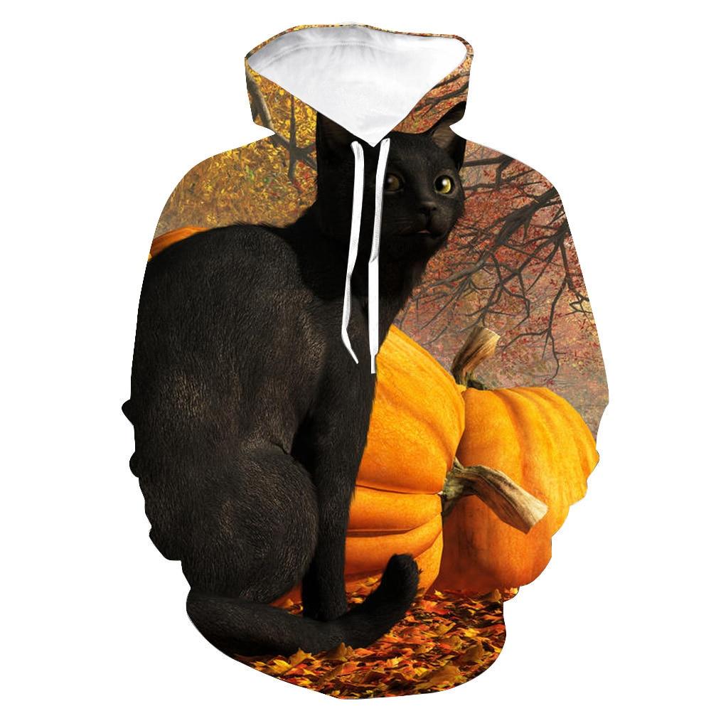 2021 Хэллоуин Дьявол Котенок 3D Печатный узор европейский и американский модный бренд Мужская Уличная одежда толстовки