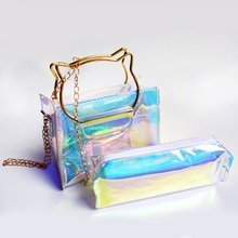 1pc Holographic Makeup Bag Tassel Cosmetic Bags Colorful Laser Makeup Case Hologram Cosmetic Cases L