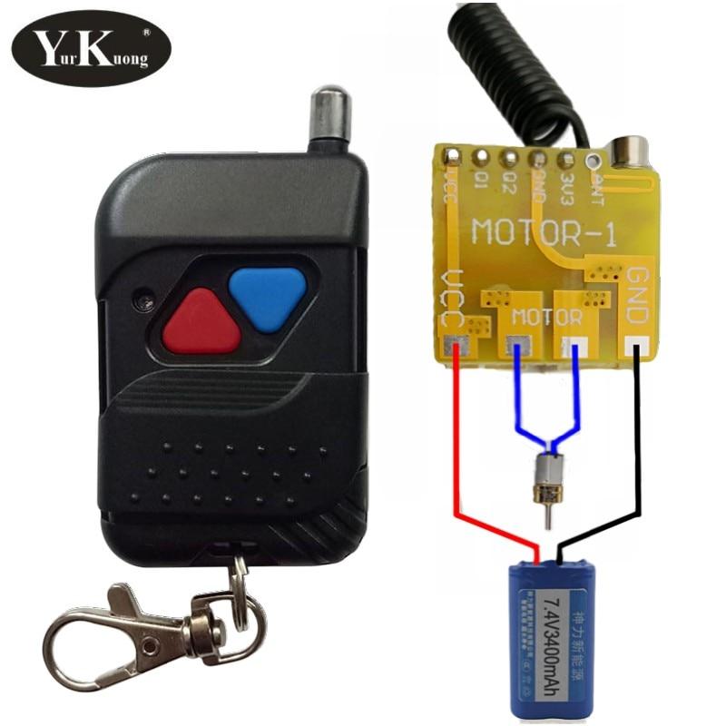 Interruptor remoto Mini Motor, interruptor de parada descendente CC 4,2 V 5V 6V 7,4 V 9V 12V, interruptores inalámbricos Motor Sin Núcleo de marcha atrás