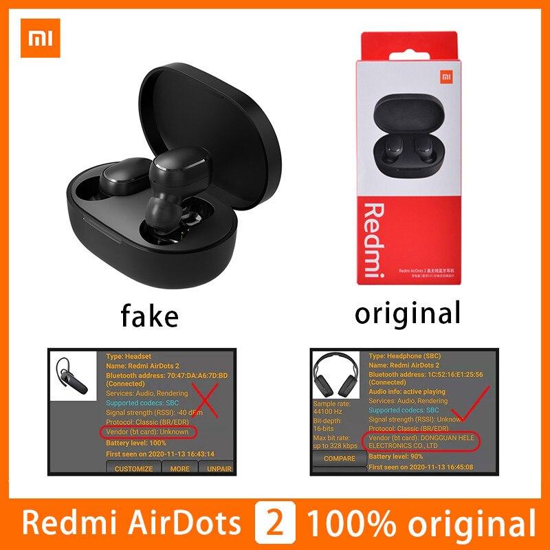 Original Xiaomi Airdots 2 Wireless Earphone TWS Redmi Airdots Bluetooth 5.0 Earphones Headset True With Mic Handsfree Auto Link