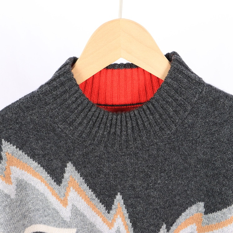 Autumn and winter women's wear new 2021 round-neck long-sleeved lightning pattern loose street hipster knitted sweater enlarge