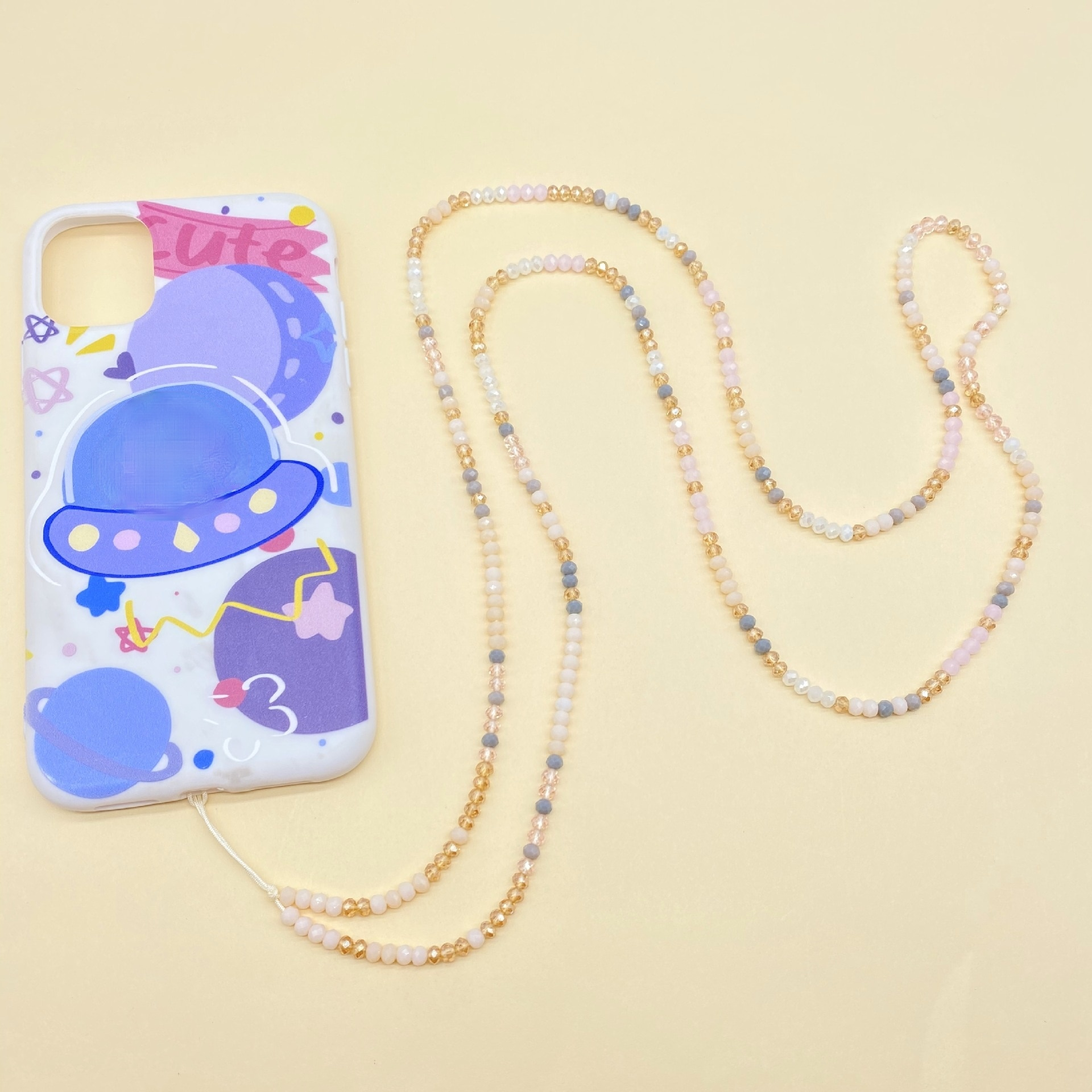 Colorful Acrylic Crystal Lanyard Mobile Phone Chain Women Accessories 2021 Chains for Jewelry Phone Strap