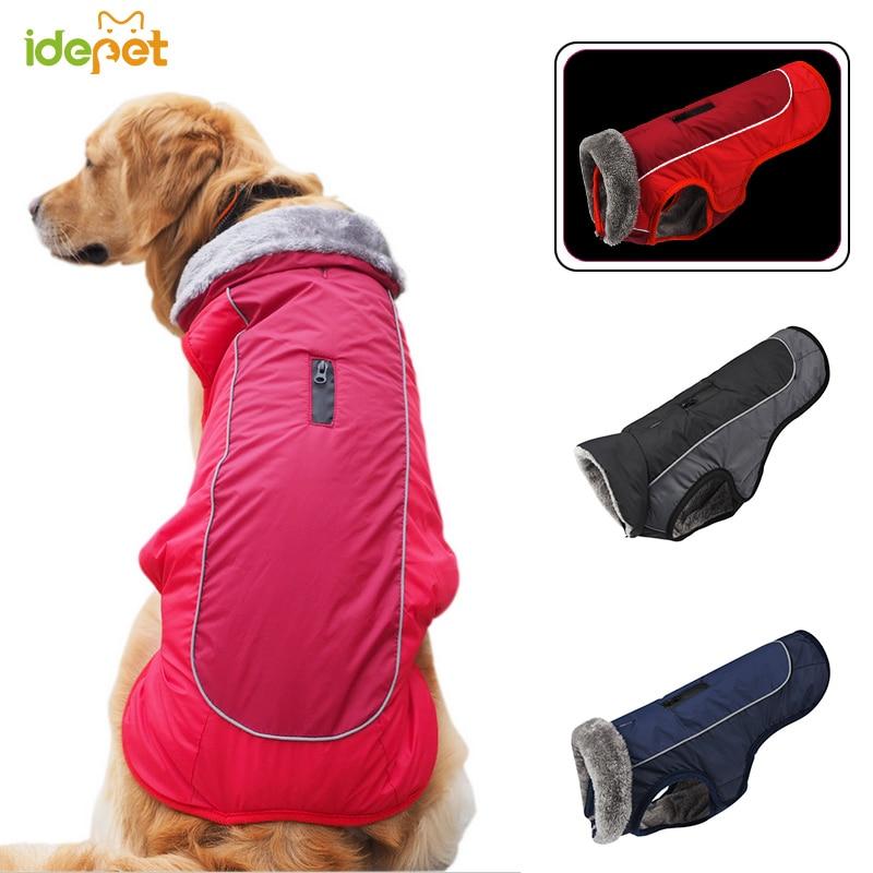 Ropa para perro mascota reflectante chaqueta para perro impermeable chaqueta para mascotas chaleco grueso traje cálido ropa para perros grandes XS-XXXL 35