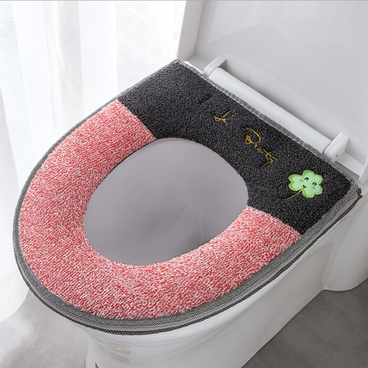 Bathroom Universal Toilet Cushion Plush with Handle Cute Cartoon Waterproof Toilet Washer Household Toilet Seat Cover Toilet Mat enlarge
