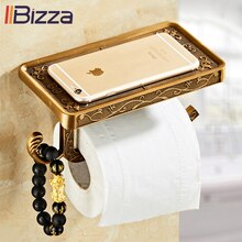 Antique Vintage Decor Bathroom With Phone Shelf Double Toilet Roll Tissue Dispenser Towel Rack Toilet Paper Holder Creative Wall