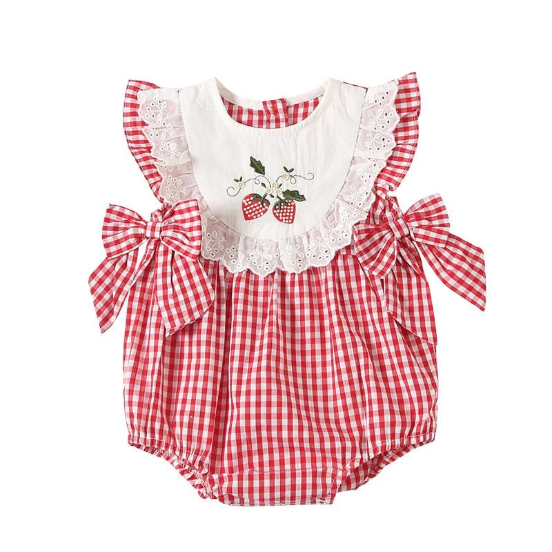 ¡Verano 2020! Pelele infantil para niña, pelele a cuadros con bordado de cerezas, ropa de Boutique para bautismo de 1er cumpleaños