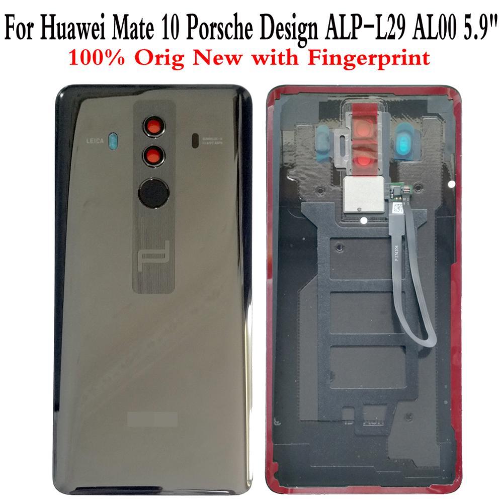 """Shyueda 100% OEM nuevo para Huawei Mate 10 Porsche Design ALP-L29 AL00 5,9 """", carcasa trasera de vidrio, cubierta de batería con huella dactilar"""