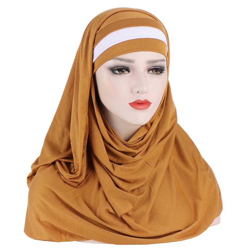 Костюм из двух предметов хиджаб для мусульманок шарф с Нижний шарф кепки Исламская одежда Малайзии хиджабы Ready to Wear женский тюрбан платок