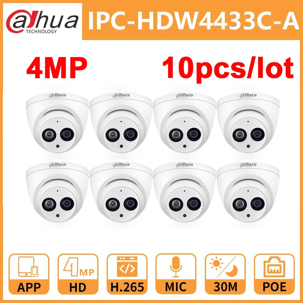 Dahua DH IPC-HDW4433C-A 4MP network IP Camera Onvif Built-in MIC With POE replace IPC-HDW4431C-A camera dahua ip camera ipc hdw4433c a 4mp network ip camera onvif built in mic poe 4433c a 4431c a home security cctv h 265 ipc camera