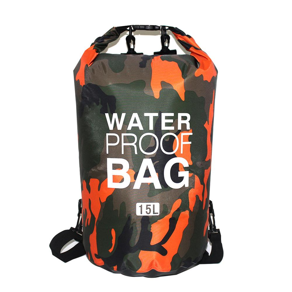 PVC Waterproof Dry Bag 5L 10L 20L 30L Camo Outdoor Diving Foldable Man Women Beach Swimming Bag Raft