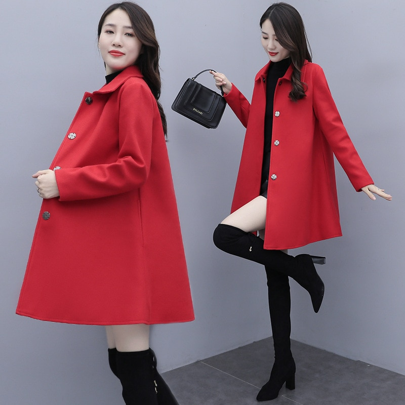 2020 Autumn and Winter New Black Cape Woolen Coat Korean Style Large Size Loose Slimming Wool Overcoat for Women