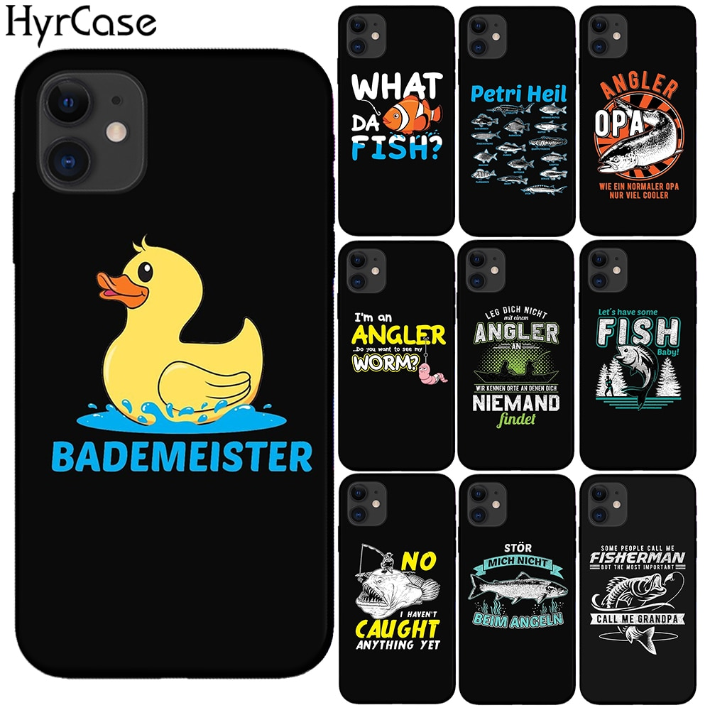 Funda blanda de gusano de pez pato Bademeister para iPhone 6 6S 7 8 Plus 5S SE 2020 funda negra de silicona para iPhone 11 Pro Max X XS Max XR