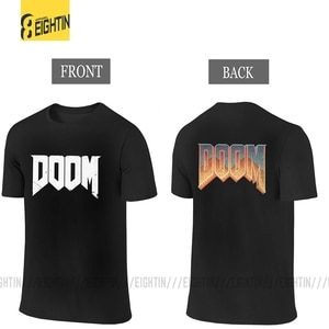 DOOM Men T Shirt Front and BackTees Two Sides Funny  Short Sleeve Game T-Shirt 100% Cotton Big Size