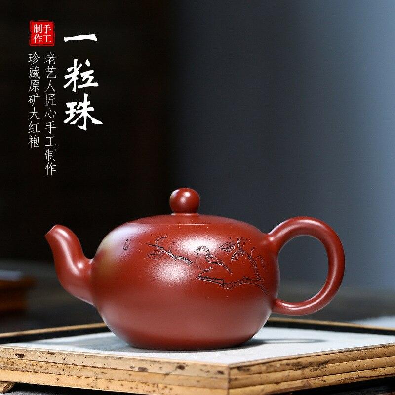 Yixing-وعاء شاي من الطين الأرجواني ، خام ، Dahongpao ، طقم شاي يدوي الصنع ، حبة