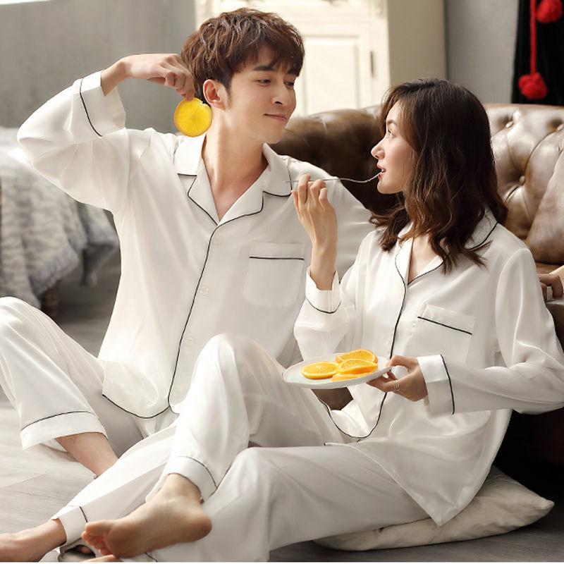 AliExpress - Solid Color Sleepwear Silk Satin Pajamas couple Set Long Button-Down Pyjamas Suit Pijama Women Men Loungewear Plus Size Pj Set