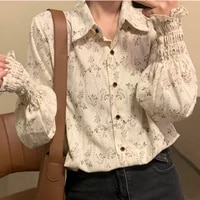 2021 summer new blouse women floral trendy office lady all match chic korean style turn down collar trendy leisure tops