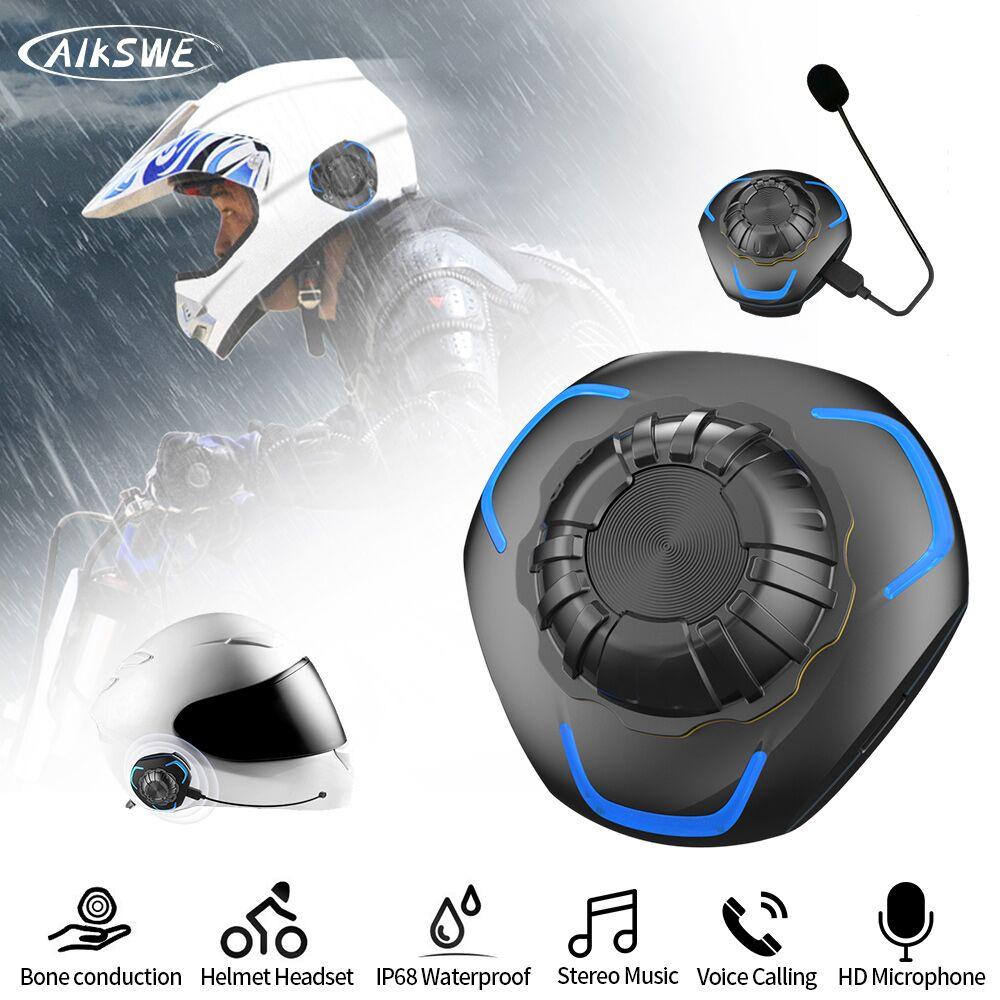 AIKSWE Helmet headset Bone Conduction Bluetooth Wireless Stereo Hands-free telephone IP68 Waterproof Motorcycle Helmet Headphone