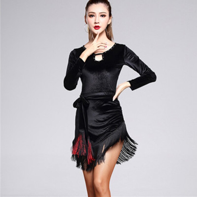 Vestido de baile latino de terciopelo negro para mujer, falda de baile latino con flecos para Tango, Rumba, Cha y Salsa, envío gratis