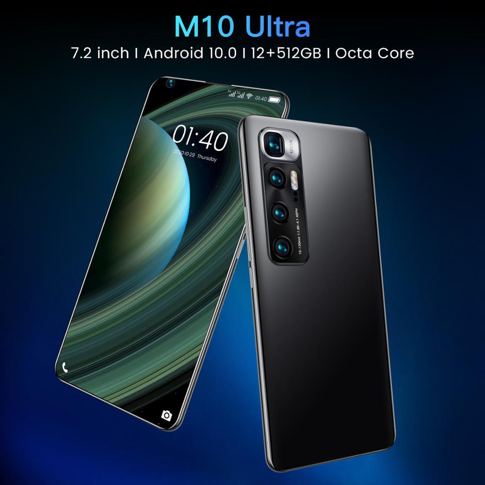 الإصدار العالمي 7.2 بوصة M10 الترا سنابدراجون 865 الهاتف الذكي 48MP كاميرا خلفية رباعية Selfie 12GB + 512GB أندرويد 10.0 الهاتف في المخزون