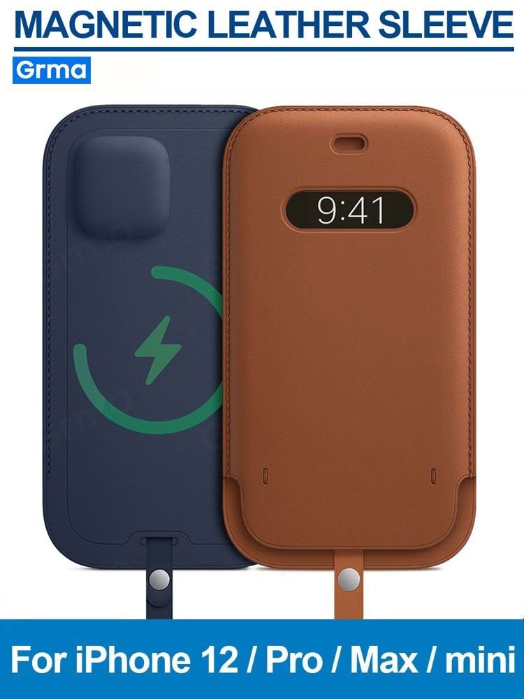 GRMA-جراب جلد أصلي أصلي لهاتف iPhone 12 Pro Max ، حافظة صغيرة ، مغناطيسي ، شحن آمن ، محفظة ، غطاء جيب للبطاقات
