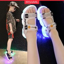 NYCOOL Shimmering Children Sandals LED Light Up Shoes Flash Luminous Boys Girls Kids Shoes Outdoor G