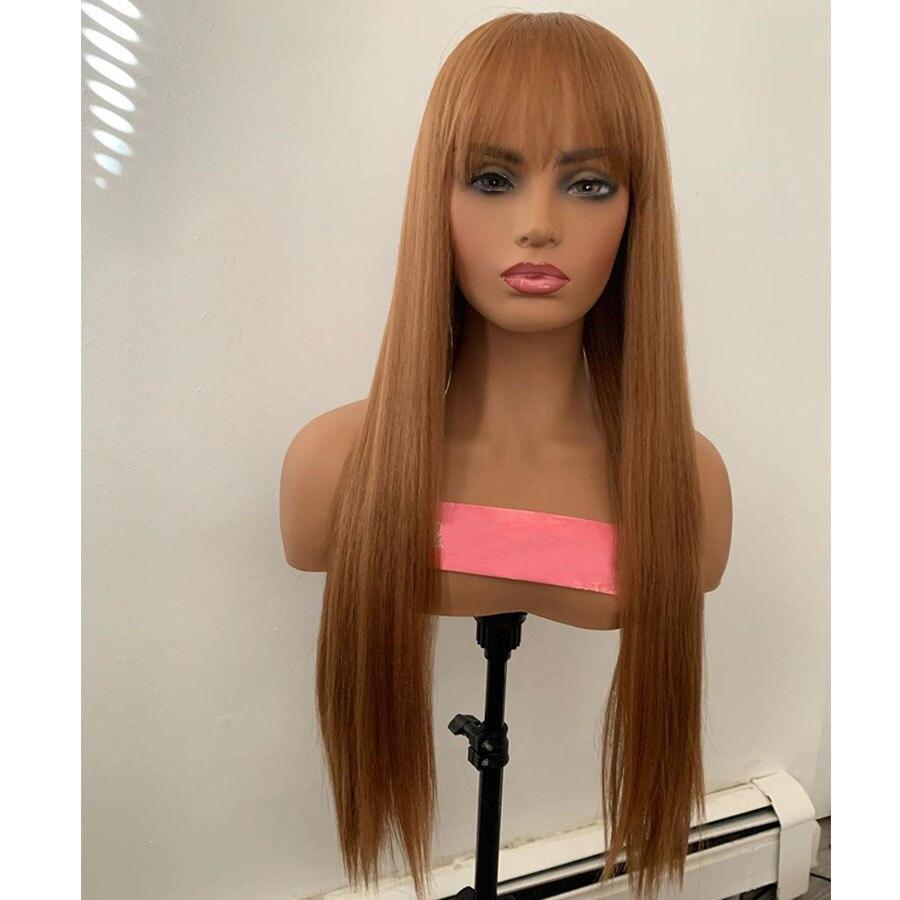 Silky Straight Fringe peruki wstępnie oskubane 360 koronkowe przednie włosy ludzkie peruki z grzywką 180 gęstość Ginger Brown długie pełne koronkowe peruki