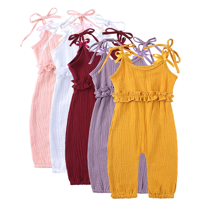 fashion 3pcs baby girl clothes cotton o neck sleeveless romper shorts clothing set for 6 24m new bron baby girl summer set Cotton Newborn Toddler Baby Girl Clothes Solid Romper Jumpsuit Playsuit Sunsuit Baby Summer Clothing 6-24M