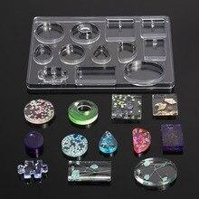 Moule de moulage en Silicone pour bricolage pendentifs de bijoux en résine 12 formes outils de moulage en Silicone pour résine époxy dargile
