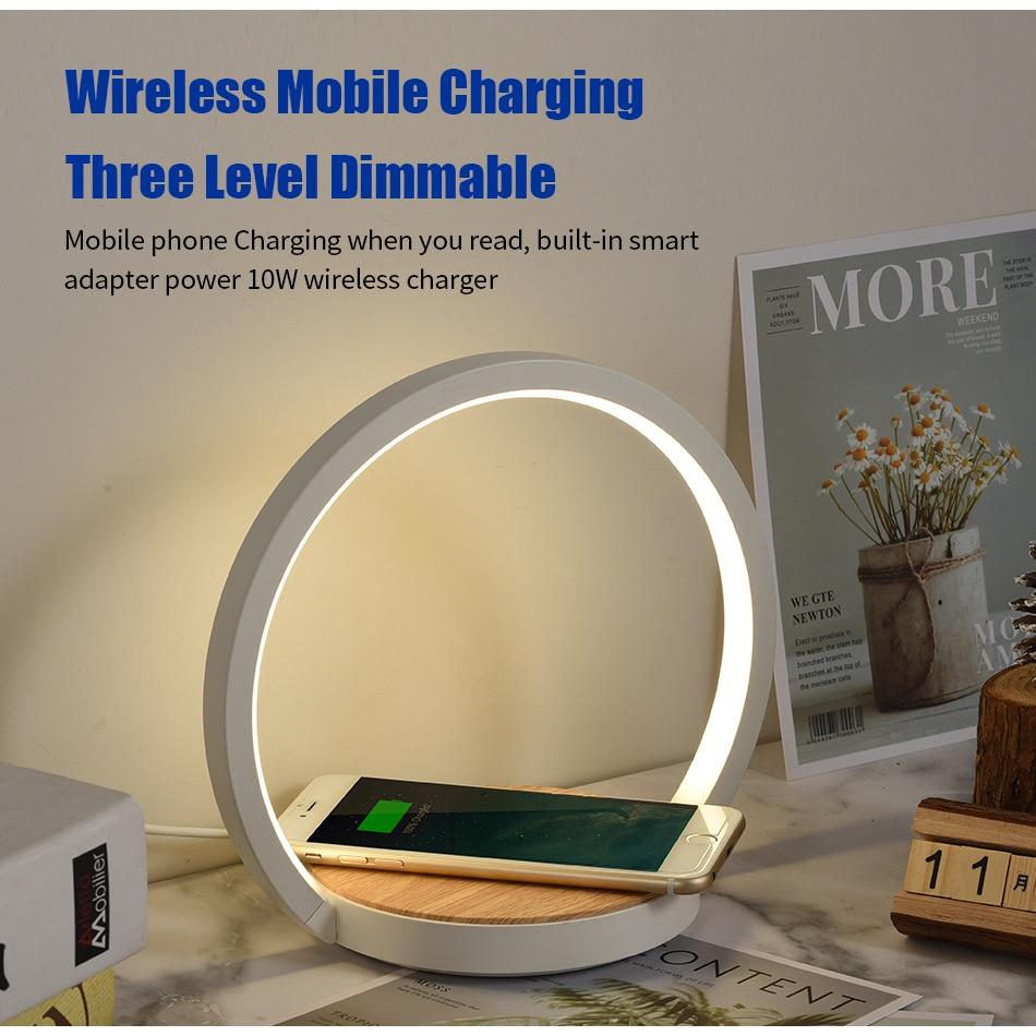 Modern led table lamp for bedroom wireless charging cell phone desk lamp bedside lamp table light dimmable led desk lamp kartell