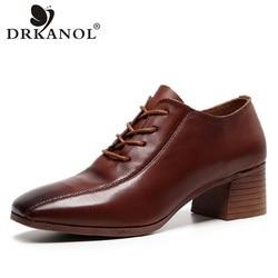 Drkanol nova chegada 100% couro genuíno sapatos de salto alto bombas femininas outono do vintage dedo do pé quadrado sapatos de salto grosso calçados