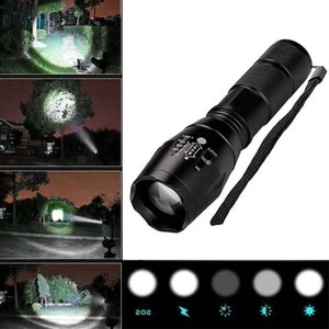 ROKOO High Powered Tactical Handheld LED Mini Flashlight 5 Modes Zoomable Water Resistant Lamp Lighting for Camping  WHS