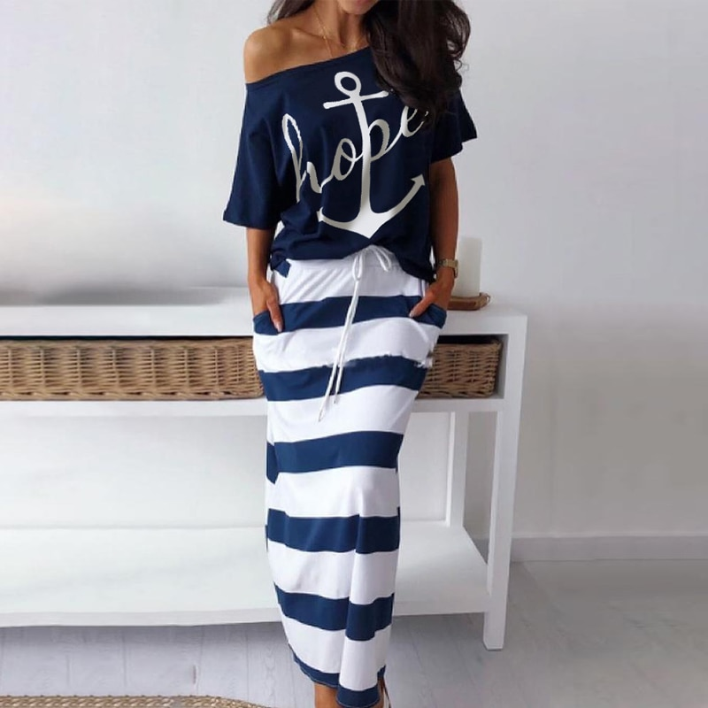 Women Two Piece Set Dress Hope Boat Anchor Print Off Shoulder T-Shirt Top Striped Skirt Sets Summer  Casual 2 Piece Skirt Sets