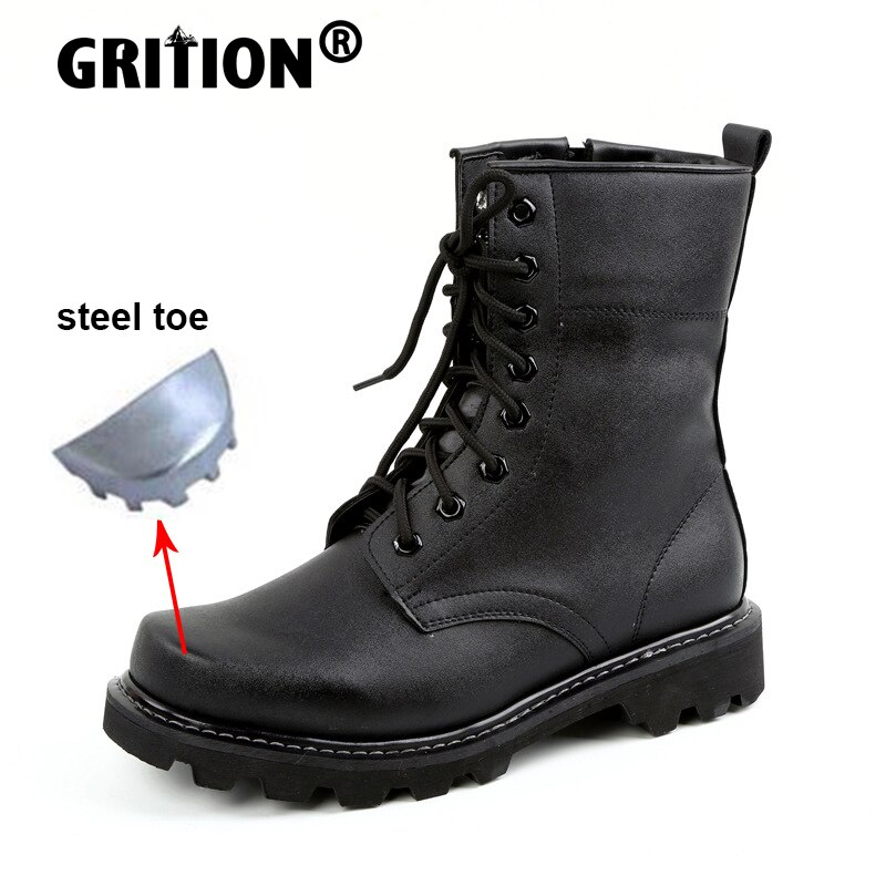 GRITION Men Women Work Hiking Shoes Steel Toe Military Tactical Boots Non Slip Keep Warm Wool Rubber