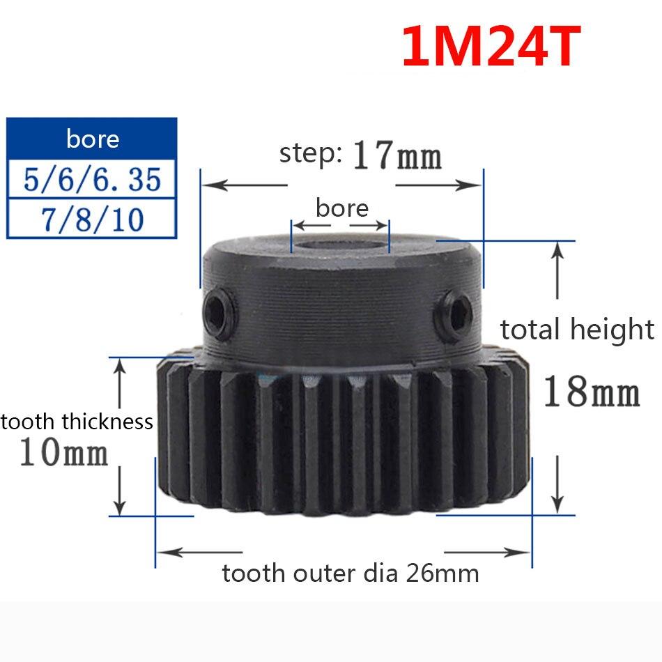 1/2/5/10/20 piezas 1 M 24T espolón engranaje piñón diámetro 8mm paso 17mm superficie negro motor, engranaje de piñón 1 módulo diente 24 exterior 26mm de diámetro