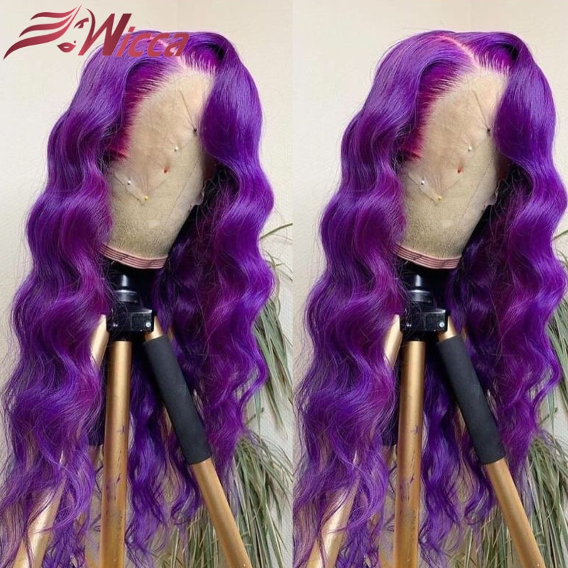 Purple 13x4 Lace Front Wig For Women with Baby Hair Transparent 180% Remy Human Hair Body Wave Wigs for Women Closure Wig