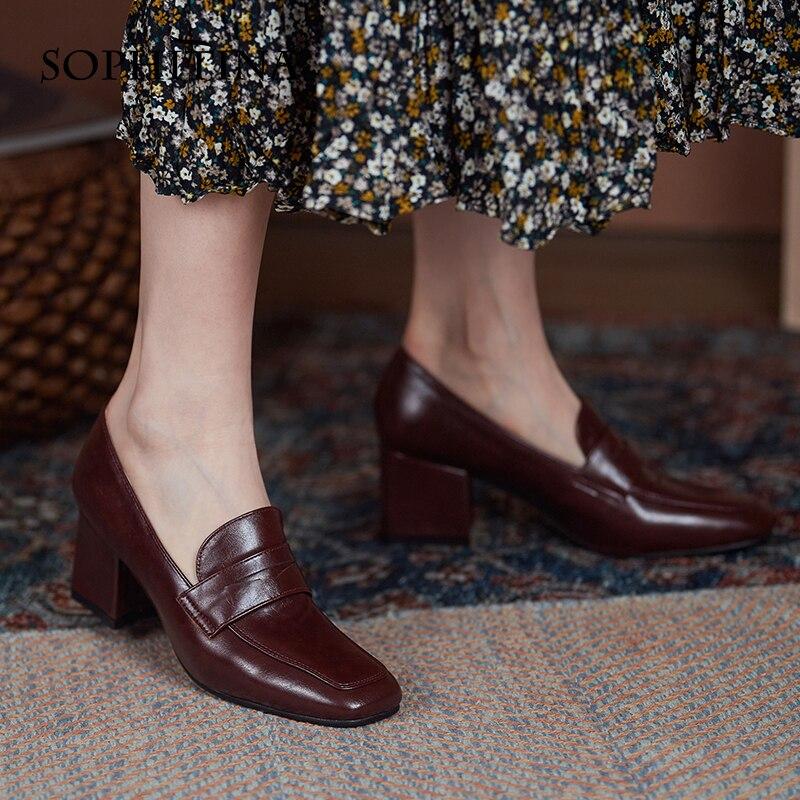Sopitina-حذاء موكاسين من الجلد بكعب سميك ومقدمة مربعة ، أحذية ربيعية مريحة للنساء ، AO207