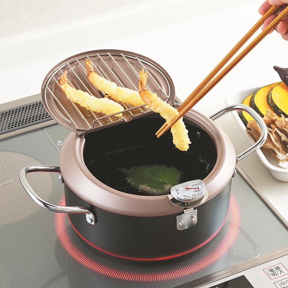 Olla para freír termómetro Tempura sartén Control de temperatura olla de pollo frito herramienta de cocina utensilio de cocina estilo japonés