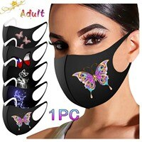 Butterfly Print Mouth Masks For Adult Adjustable Straps Washable Reusable Cloth Black Face Mask Dustproof Haze Filter mondkapjes