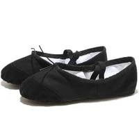 ushine eu22 45 black leather head yoga slippers teacher gym indoor exercise canvas ballet dance shoes children kids girls woman